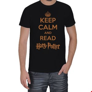 KEEP CALM AND READ HARRY POTTER  Erkek Tişört
